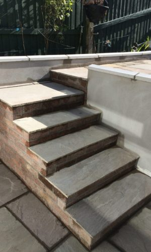 Steps and Rendered Wall